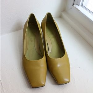 Vintage Lime Green Square Toe Heels